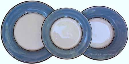 Italian Dinner Place Setting - Black Border Solid Light Blue -Platino