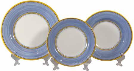 Italian Dinner Place Setting - Yellow Border Light Blue