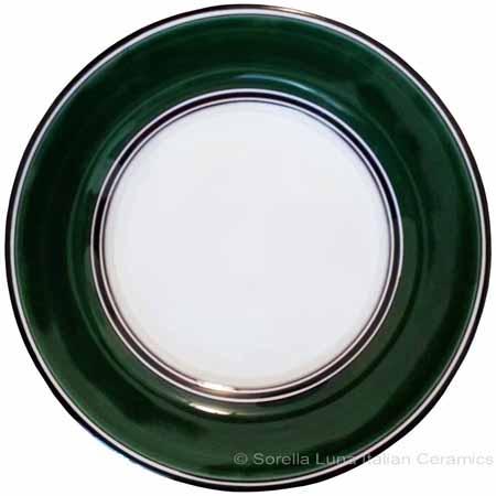 Deruta Italian Salad Plate - Black Rim Solid Emerald Green