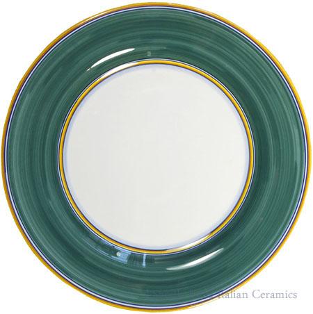 Deruta Italian Salad Plate - Yellow Rim Solid Green