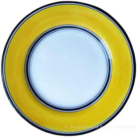 Deruta Italian Salad Plate - Black Rim Solid Yellow - Giallo