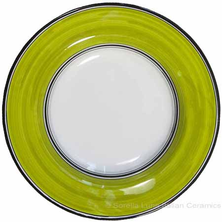 Deruta Italian Salad Plate - Black Rim Solid Meadow - Prato