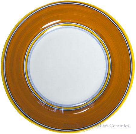 Deruta Italian Salad Plate - Yellow Rim Solid Orange