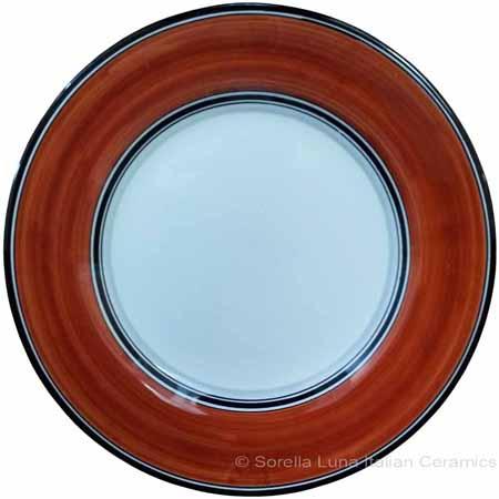 Deruta Italian Salad Plate - Black Rim Solid Rossiccio