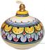 Ceramic Majolica Oil Lamp 1206 11 Yellow Blue