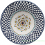Ceramic Majolica Plate Blue Penne Peacock 25cm