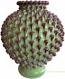 Tuscan Handcrafted Centerpiece/Vase - Green Pine/Burgundy Relief