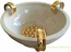 Tuscan Centerpiece Handled Bowl - Cream and Gold