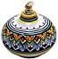 Ceramic Majolica Oil Lamp 1206 11 Red Blue Yellow