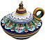 Ceramic Majolica Oil Lamp 1206 10 Handle Green Orange
