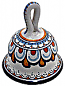 Ceramic Maiolica Dinner Bell White Orange 4cm