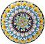 Ceramic Majolica Plate FDL Green Blue Yellow 739 25cm