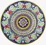 Ceramic Majolica Plate Deruta Ricco Scrolls Red Blue 47cm