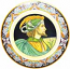 Ceramic Majolica Plate Portrait Male BW GRN POTES 52cm