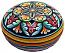 Ceramic Majolica Covered Curved Box Snowflake Red 7cm