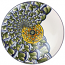 Ceramic Magiolica Plate off center spiral grey white