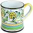 ceramic majolica coffee mug cup peacock green large