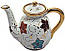 Ceramic Majolica Coffee Tea Pot Gold Leaf Autumn 15cm