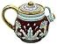 Ceramic Majolica Tea Coffee Pot Red Gold Leaf 12cm