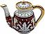 Ceramic Majolica Coffee Tea Pot Red Gold Leaf 15cm