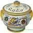 Ceramic Majolica Covered Garlic Jar