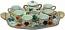 Ceramic Majolica 9 Piece Coffee Service Gold Leaf Autumn
