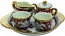 Ceramic Majolica 5 Piece Coffee Service Gold Leaf Red