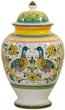 Italian Ceramic Centerpiece Urn - Lovers Peacocks
