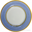 Deruta Italian Salad Plate - Yellow Rim Solid Light Blue