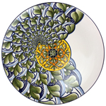Ceramic Magiolica Plate off center spiral grey white