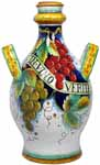 Ceramic Maiolica Handled Bottle Centerpiece Grapes 50cm