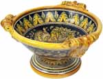 Ceramic Majolica Centerpiece Raffaellesco Yellow Blue