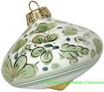Ceramic Majolica Christmas Ornament Arabesco Green