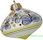 Ceramic Majolica Christmas Ornament Arabesco Light Blue