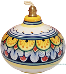 Ceramic Majolica Oil Lamp 1206 11 Yellow Blue