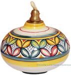 Ceramic Majolica Oil Lamp 1206 11 Red Green Petals