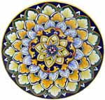 Ceramic Majolica Plate Blue Yellow Green 739 20cm