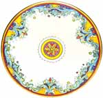 Ceramic Majolica Plate DR Oro Gold White 739 35cm