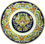 Ceramic Majolica Plate Delfini Blue Brown Red 739 30cm