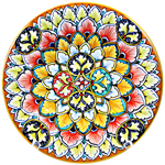 Ceramic Majolica Plate FDL G04 Green Blue Red 739 25cm