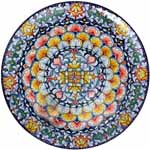 Ceramic Majolica Plate FDL Green Yellow Red 739 35cm