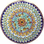 Ceramic Majolica Plate FDL Teal Orange Brown 739 30cm