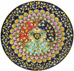 Ceramic Majolica Plate G03 Red Green Blue Sectors 42cm