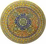 Ceramic Majolica Plate G04 Brown Orange Blue 739 35cm