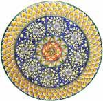 Ceramic Majolica Plate G04 GEO FDL Red Blue Yellow 52cm