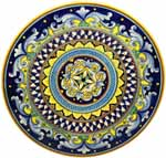 Ceramic Majolica Plate G04 Yellow Cobalt Blue 42cm