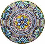 Ceramic Majolica Plate G06 Deruta Ricco Scrolls Star 47cm