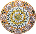 Ceramic Majolica Plate G07 Orange White Blue 739 35cm