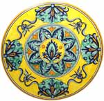 Ceramic Majolica Plate G08 G04 Flower Yellow Green 47cm