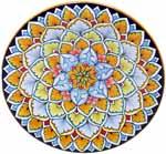 Ceramic Majolica Plate G12 Light Blue Orange 25cm
